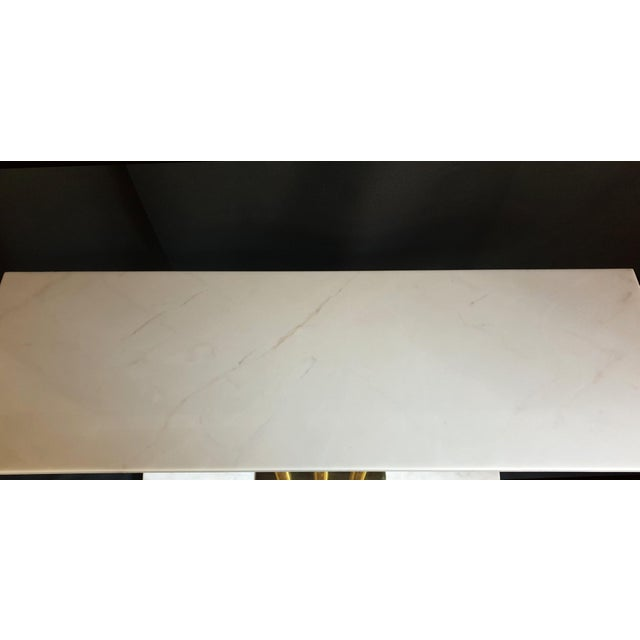 Large Mid-Century Modern White & Gray Carrara Marble & Brass Console Table, Italy For Sale - Image 9 of 13