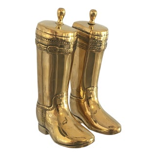 Polished Brass English Riding Boot Bookends - a Pair For Sale