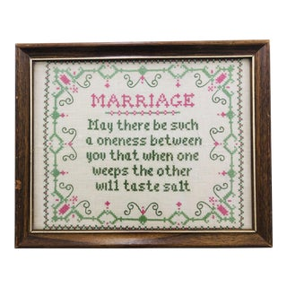 "Vintage Hand Crafted Cross Stitch ""Marriage"" in Frame For Sale"