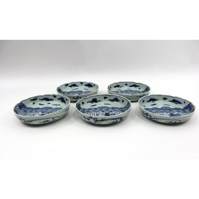 Asian 1900s Japanese Blue & White Bowls Meiji Period For Sale - Image 3 of 5