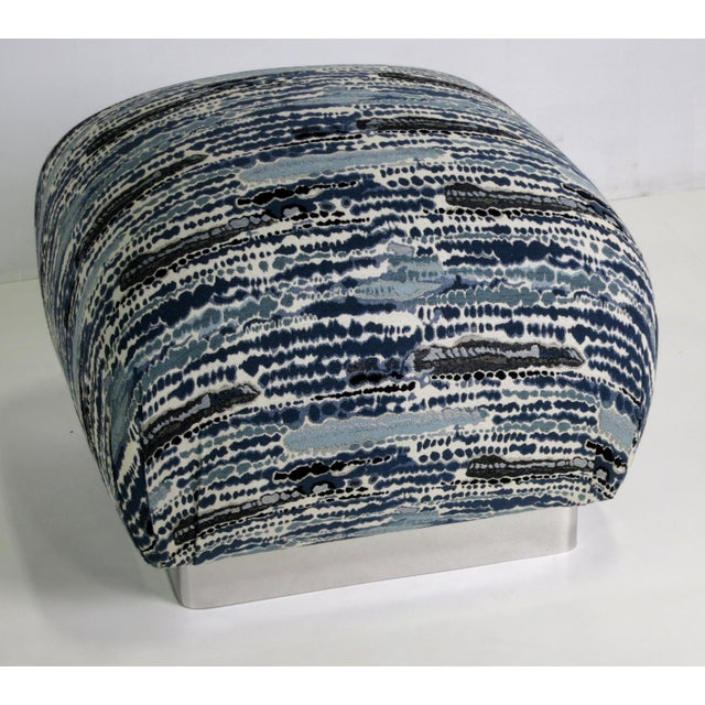 Modern Pair of Souffle Poufs with Chrome Base For Sale - Image 3 of 5