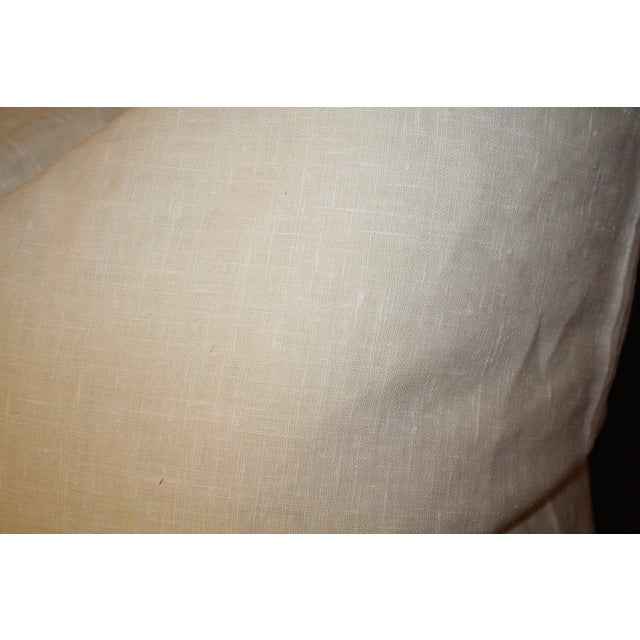 Large Belgium Cream Linen European Pillows - a Pair - Image 5 of 6