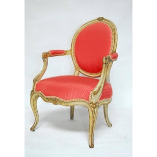 Louis XV Period Painted Pink and Parcel Gilt Fauteuils - a Pair Preview