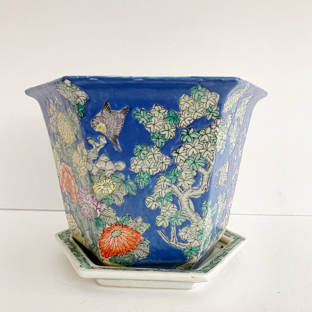 Late 20th Century Chinoiserie Blue Cherry Blossom and Birds Planter With Saucer For Sale - Image 5 of 10