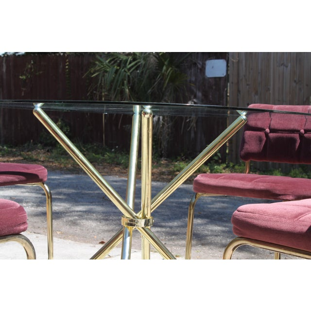 Vintage 70's Brass & Glass Table & Chairs - Image 5 of 8