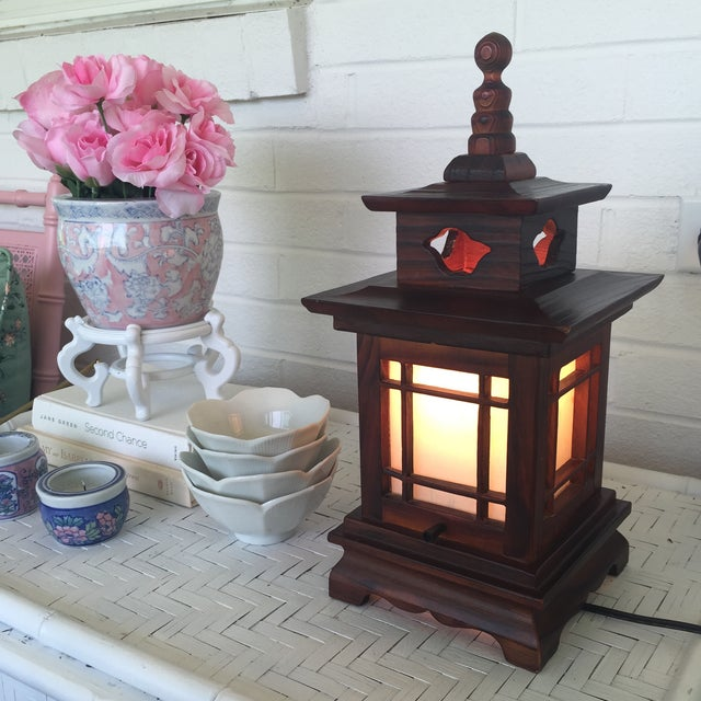 Wood Antique Carved Wood Asian Chinoiserie Pagoda Lantern Light Lamp For Sale - Image 7 of 11