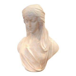 19th Century French Carved White Marble Bust Sculpture of Young Beauty For Sale