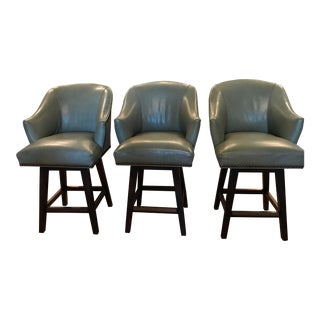 Lee Industries Custom Leather Swivel Counter Stools - Set of 3 For Sale