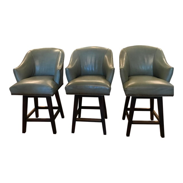 Lee Industries Leather Swivel Counter Stools - Set of 3 For Sale