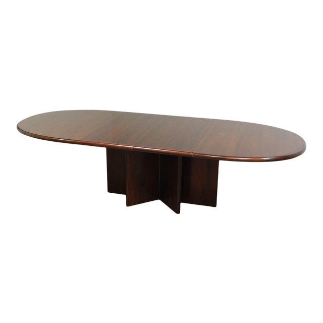 Danish Modern Oval Teak Expandable Dining Table by Ansagar Mobler For Sale