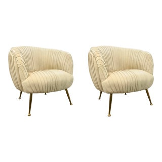 Regina Andrew Modern Cappuccino Leather Beretta Lounge Chairs Pair For Sale