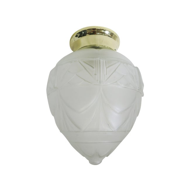 Early 20th Century Art Deco Satin Acorn Ceiling Glass Globe Pendant For Sale - Image 5 of 5