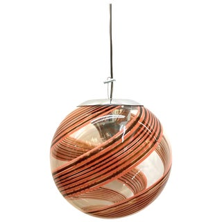 Murano Italy, 1970s Clear With Amber and Blush Spiral Globe Pendant For Sale