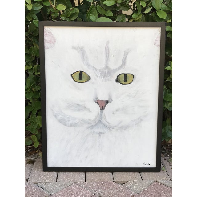 Late 20th Century Modernist Style Cat Painting, Framed For Sale In West Palm - Image 6 of 8