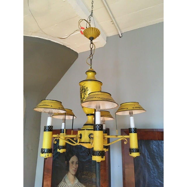 Early 20th Century Regency French Yellow Painted Tole Five Light Chandelier For Sale - Image 13 of 13