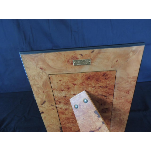 Authentic Gucci Inlaid Wood Picture Frame For Sale - Image 4 of 6