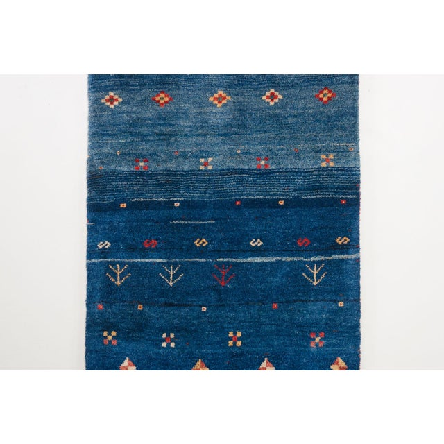 Blue Persian Gabbeh Rug - 2′11″ × 9′7″ For Sale - Image 4 of 8