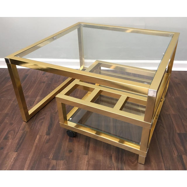 Art Deco Cubist Brass Swivel Coffee Table with Wine Rack After Milo Baughman For Sale - Image 3 of 7