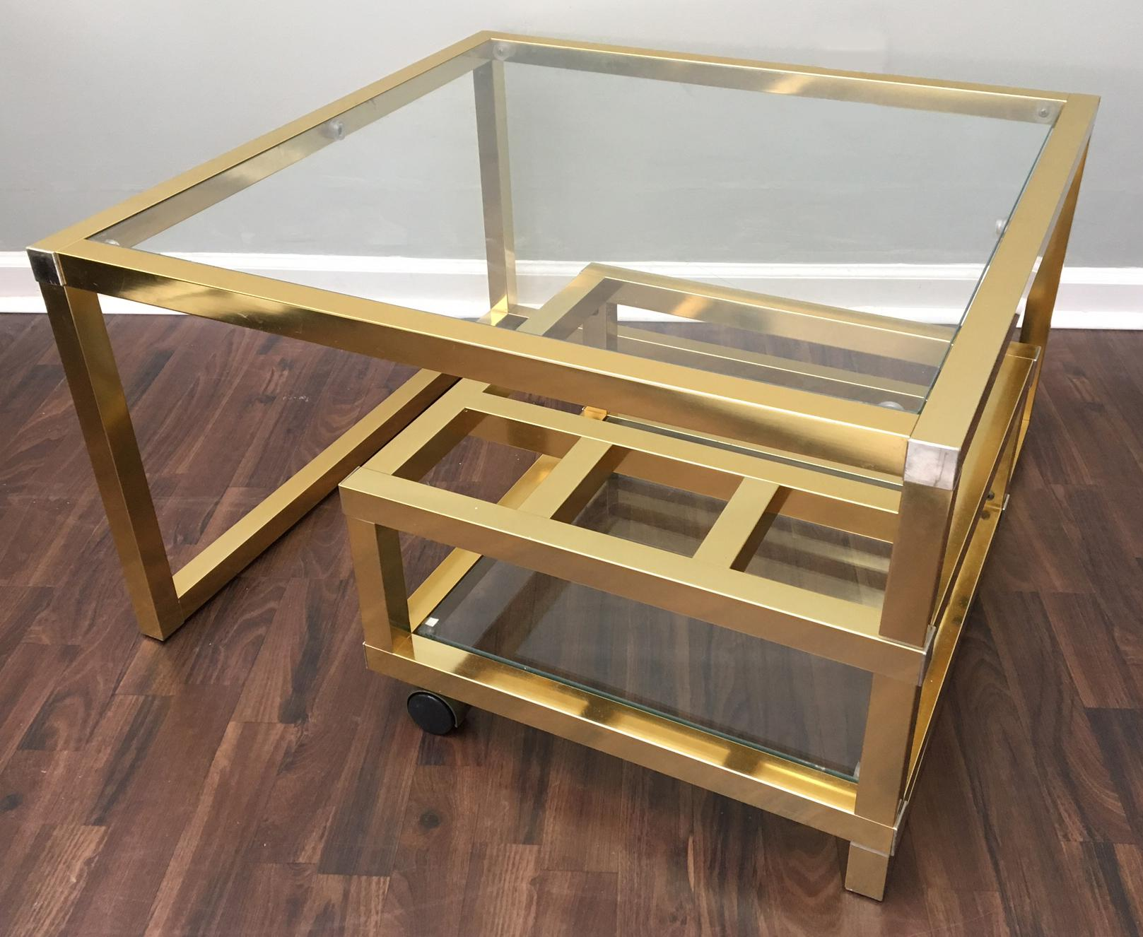 Art Deco Cubist Brass Swivel Coffee Table With Wine Rack After Milo  Baughman For Sale