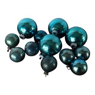 Vintage Blue Shiny Brite Christmas Ornaments - Set of 12