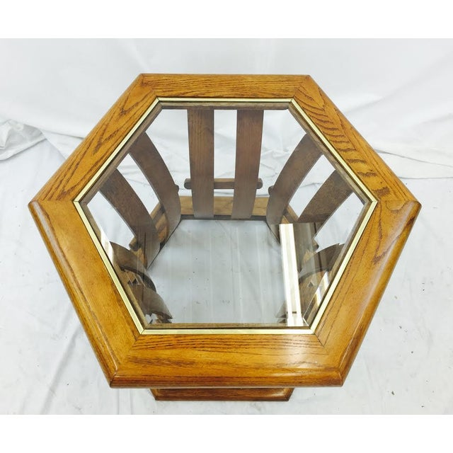 Retro Mid Century Wood & Glass Top Side Table - Image 5 of 7