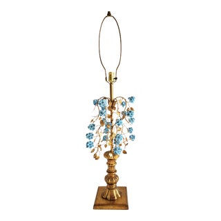 Vintage Hollywood Regency Style Italian Giltwood Table Lamp For Sale