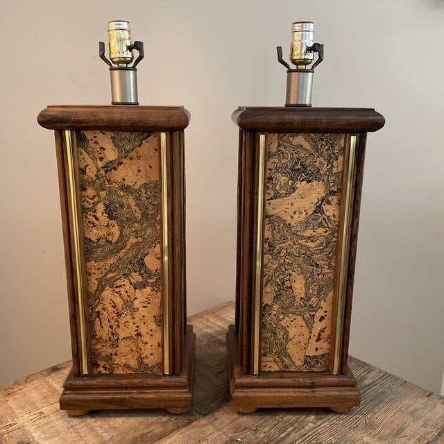 Wood Mid Century Modern Harris Strong Style Wood and Cork Lamp Bases - a Pair For Sale - Image 7 of 7