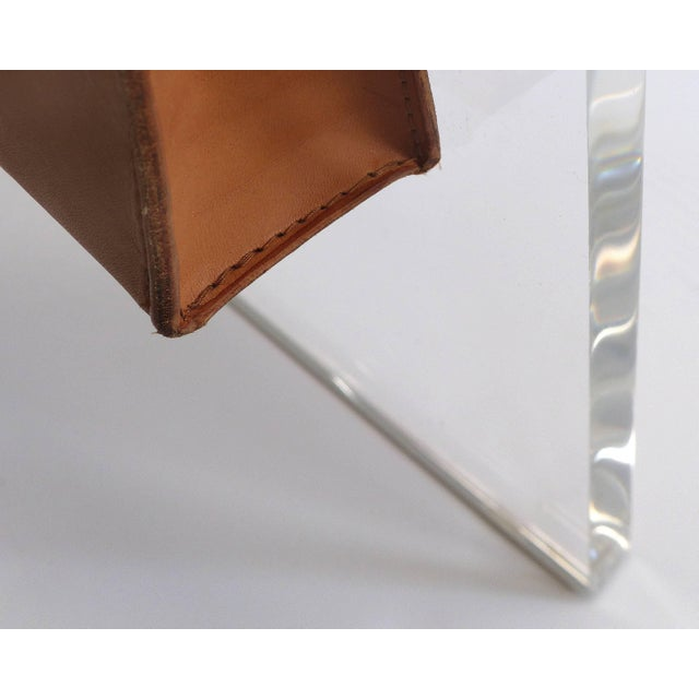 Leather Custom Lucite Waterfall Side Table With Leather Magazine Pocket For Sale - Image 7 of 7