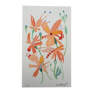 """Dragonfly Lilies 1"" Watercolor Painting For Sale"