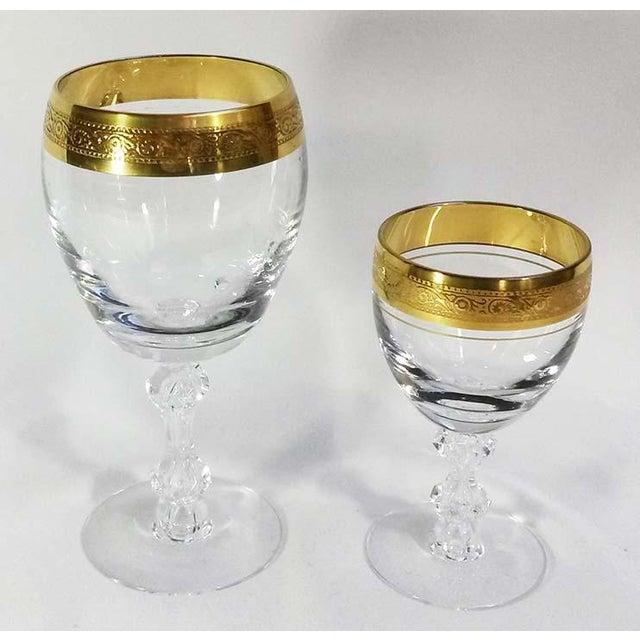 Hollywood Regency Holiday Sale!! Tiffin Franciscan Westchester 22k Gold Rim Stemware - 24 Piece Set For Sale - Image 3 of 5