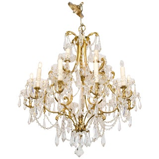 1950s Italian Fifteen Light Crystal and Brass Chandelier