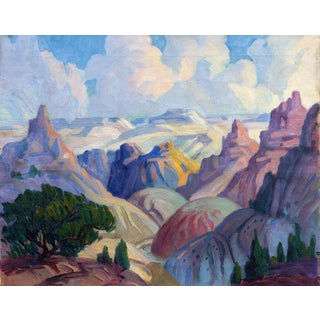 """""""Grand Canyon"""" Modernist Painting by Leslie Lounsbury, Circa 1940s For Sale"""