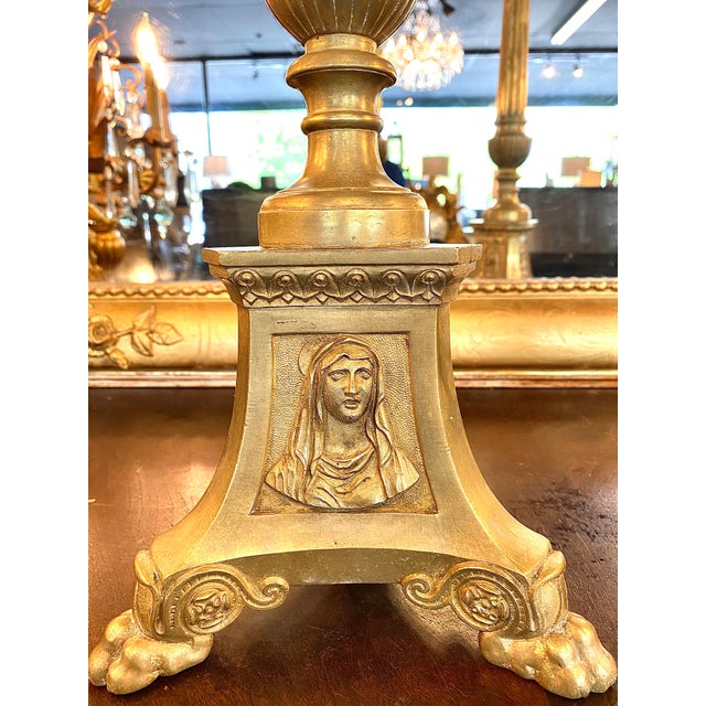 Magnificent pair of 19th century French heavy brass cathedral or altar candlesticks, ornately decorated fluted pillars,...