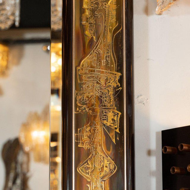 Mastercraft Mid-Century Modern Acid Etched Brass Mirror by Bernard Rohne for Mastercraft For Sale - Image 4 of 6