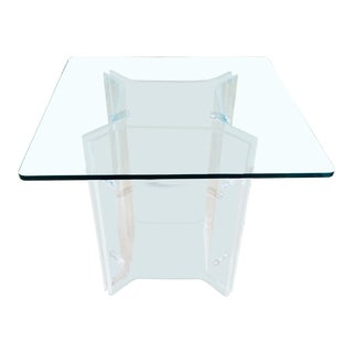 1970s Modern Lucite & Glass Dining Table With Unique Base For Sale