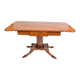 19th Century German Biedermeier Period Drop Leaf Walnut Table For Sale