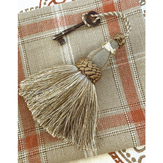 Khaki Key Tassel in Khaki and Bronze With Ruche Trim For Sale - Image 8 of 10