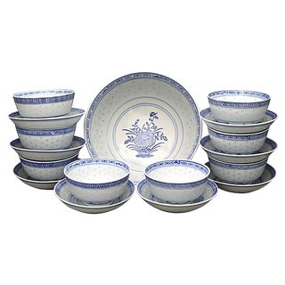 "Vintage Chinese ""Blue Rice"" Soup Set For Sale"