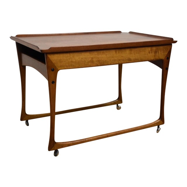 Ingvard Jensen Rolling Teak Bar Cart - Image 1 of 11