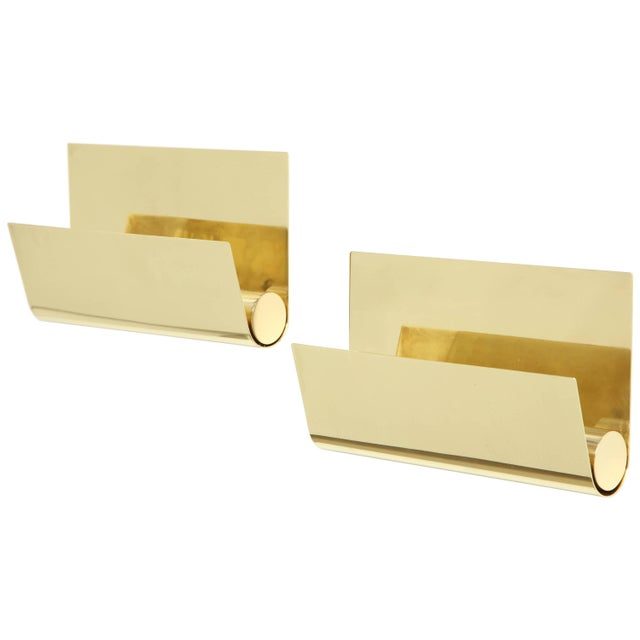 Minimalist Italian Brass Sconces - a Pair For Sale - Image 9 of 9