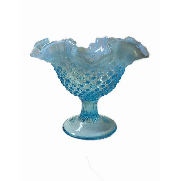 Fenton Blue Opalescent Hobnailed Glass Bowl - Image 4 of 4