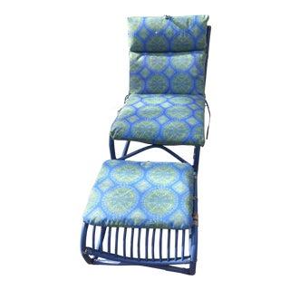 1980s Vintage Boho Tiki Rattan Chair & Ottoman Set - a Pair For Sale