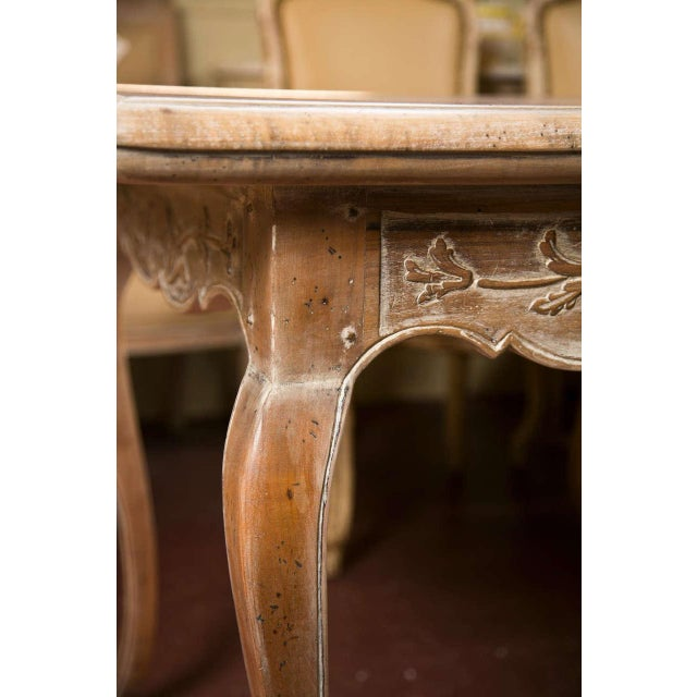 French Provincial Style Distressed Dining Table - Image 4 of 8