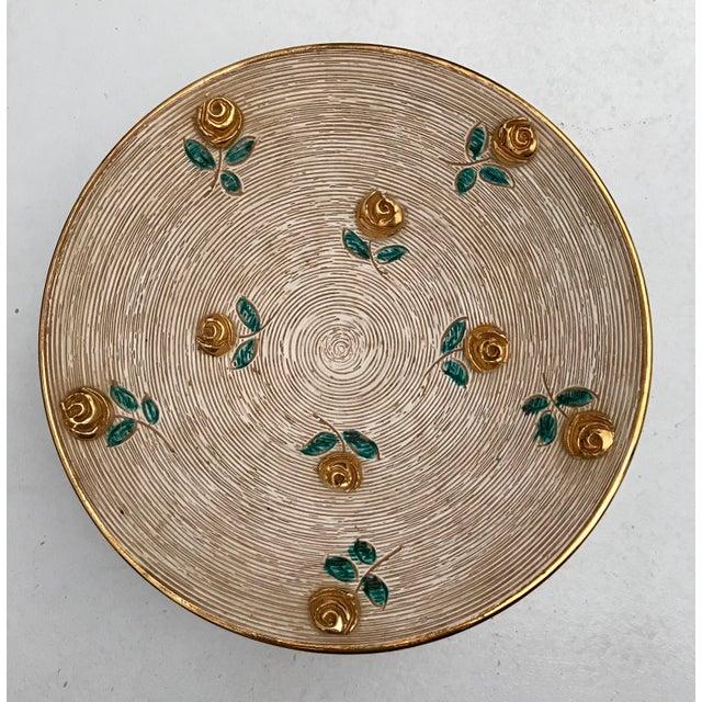Art Deco 1980s Vintage Art Deco Gold Flowers Bowl For Sale - Image 3 of 6