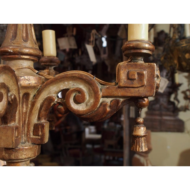 18th Century Italian Small Gilt Wood Chandelier For Sale - Image 4 of 6