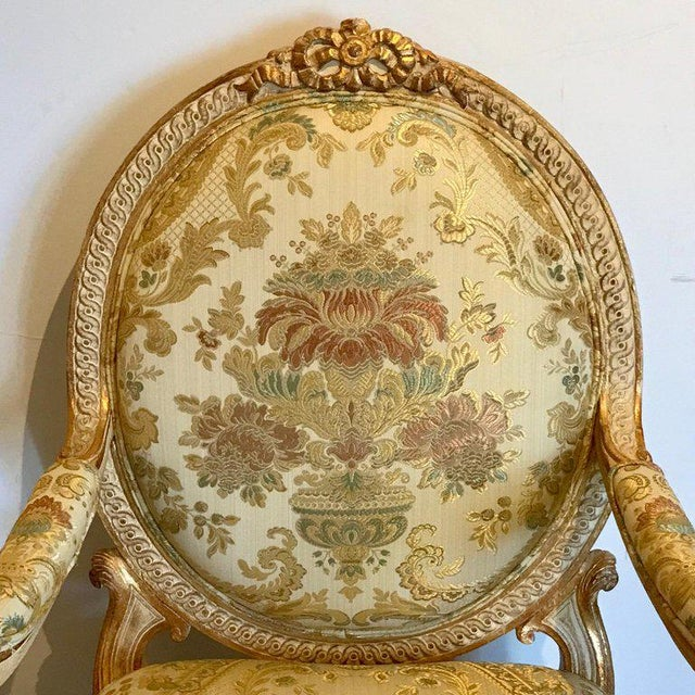 Pair of Louis XVI Style Carved Giltwood Bergère Chairs With Scalamandre Fabric For Sale In Atlanta - Image 6 of 13