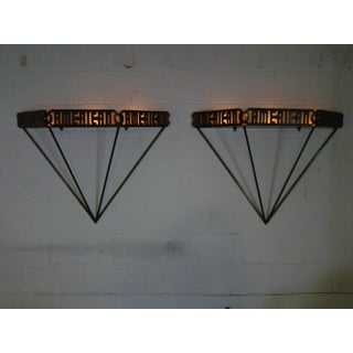 Modern Custom Made American Iron Wall Sconces - A Pair Preview