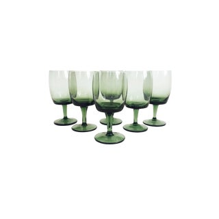 Mid Century Bavarian Green Wine Glasses - Set of 6