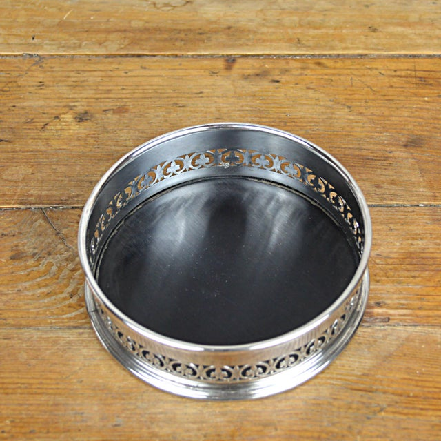 Traditional Fleur De Lys Silverplate Wine Coaster For Sale - Image 3 of 6