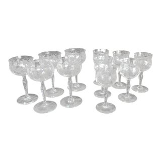 Garland Etched Aperitif Stemware - Set of 11 For Sale